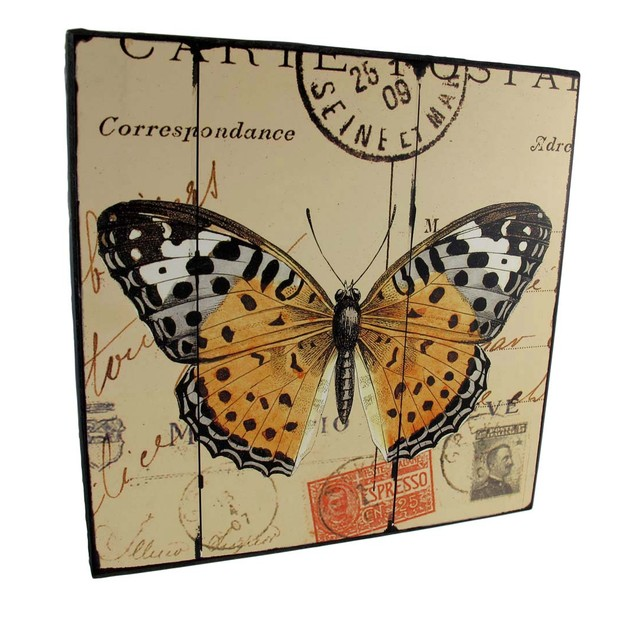 Pair Of Square Wooden Butterfly Plaques Decorative Plaques