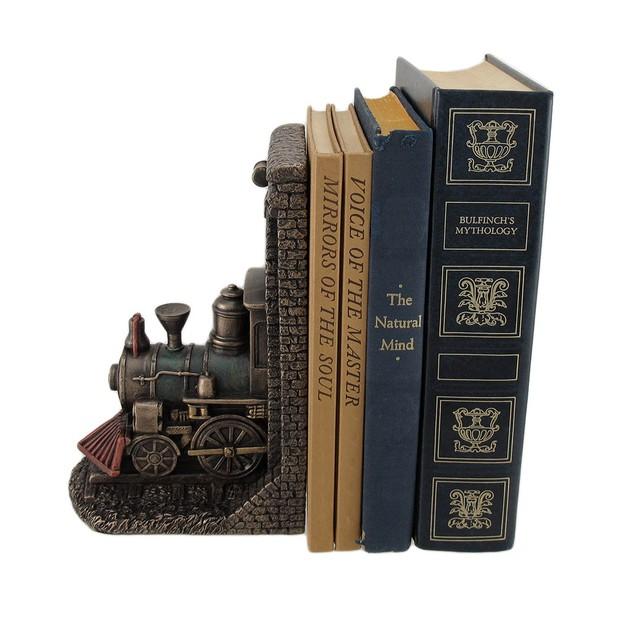 Steampunk Steam Locomotive Bronze Finished Single Decorative Bookends