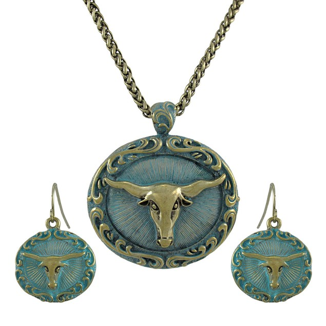 Bronze And Turquoise Blue Western Longhorn Womens Earring And Necklace Sets