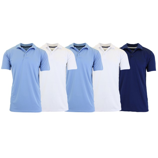 5-Pack Men's Dry Fit Moisture-Wicking Polo Shirt