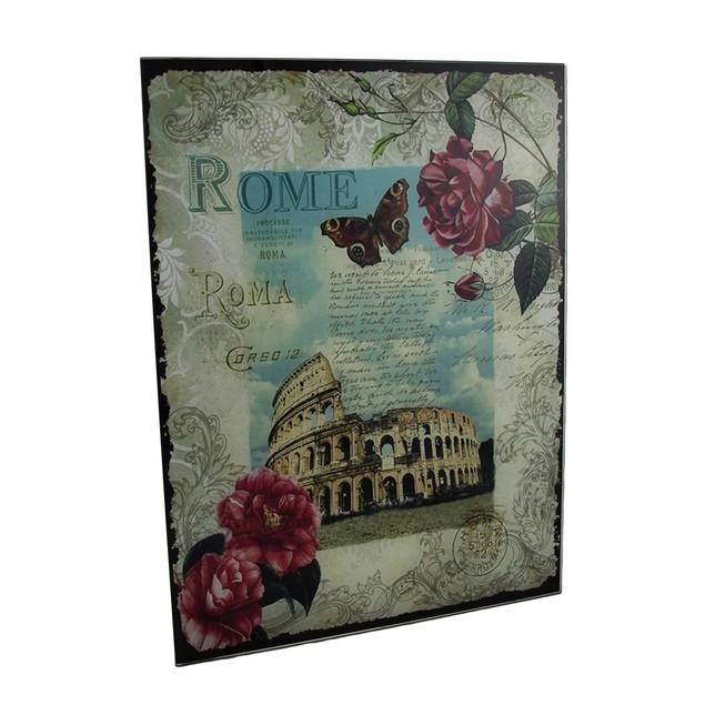 Decorative Rome Colosseum Floral Glass Wall Decorative Plaques