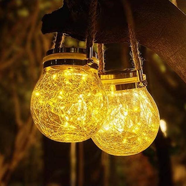 4-Pack Waterproof Solar Powered Mason Jar Fairy Lights