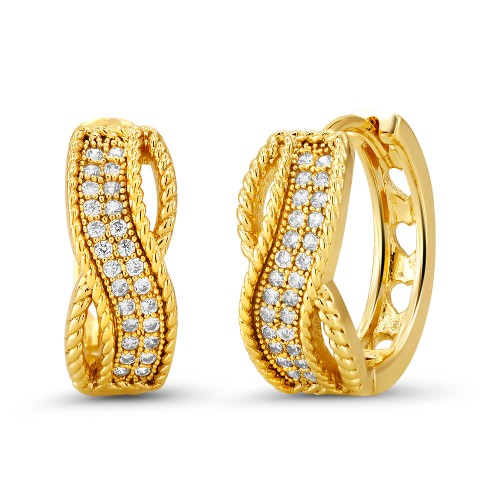 18kt Yellow Twirled Goldtone Cubic zirconia  Huggie Earrings
