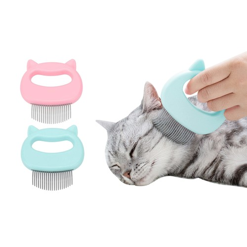 2-Pack: Pet Hair Removal and Massaging Shell Comb Brush for Grooming and Shedding