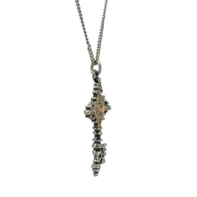 Two Tone Old Sarum Cypher Key Pendant W/ Necklace Mens Pendant Necklaces