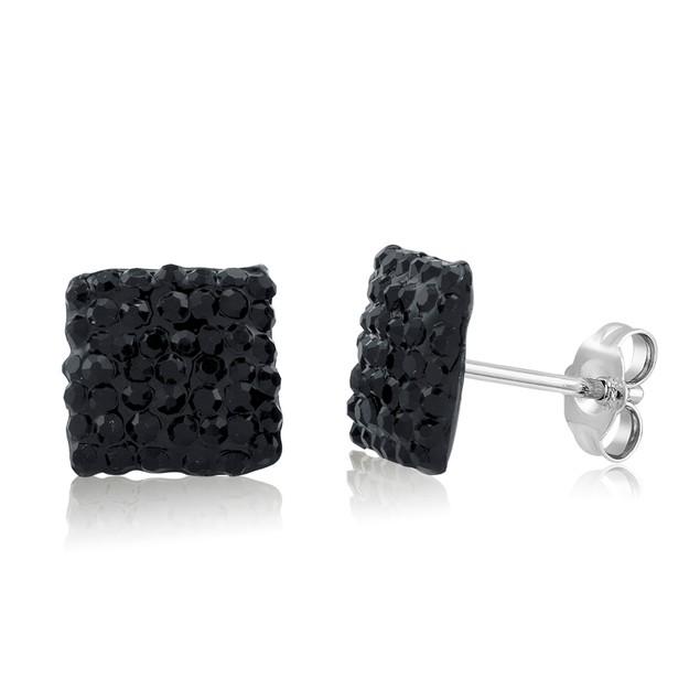 Sterling Silver Sparkling Crystal 10mm Stud Earrings - Square Black