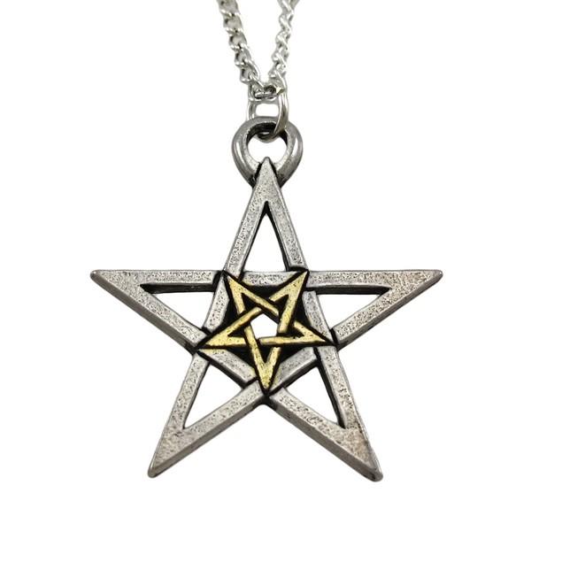 Two-Tone Double Pentagram Pendant / Necklace Womens Pendant Necklaces