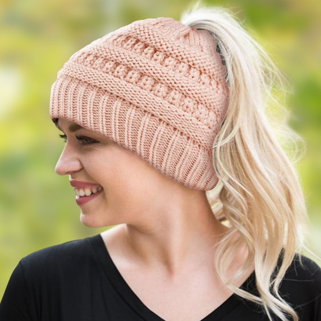 Women's Soft-Knit Ponytail Hat (Multiple Colors)
