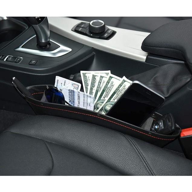 2-Pack Leather Car Seat Organizer Gap Pocket Car