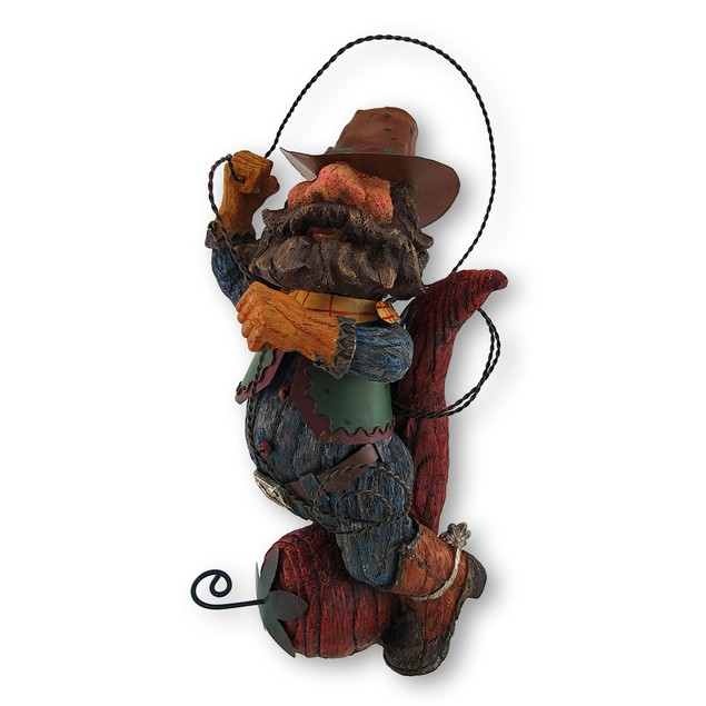 Whimsical Cowboy Riding Chili Pepper Twirling Statues