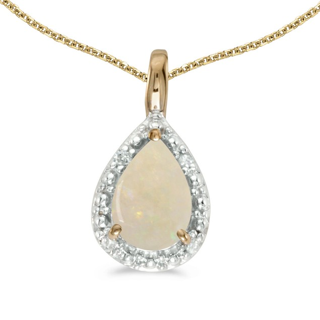 "14k Yellow Gold Pear Opal Pendant with 18"" Chain"