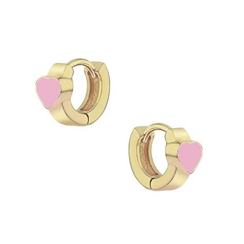 18KGP Light-Pink Heart Shape Enameled Huggie Hoop Children's Earrings