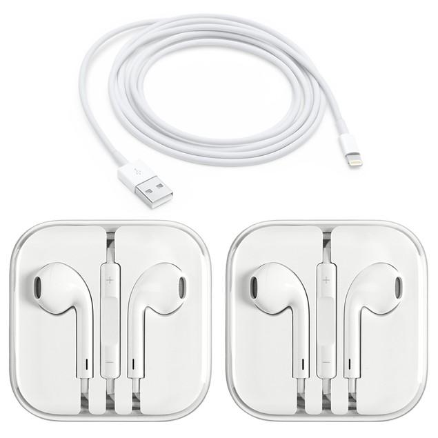 2-Pack Apple Original 3.5mm Earpods Earphones + Apple Original Cable