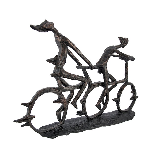 Abstract Bicyclists In Motion Sculpture 21 In. Sculptures
