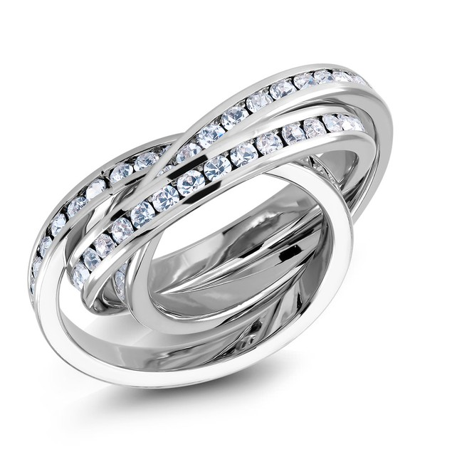 18kt White Gold 3 piece Cubic Zirconia Rings