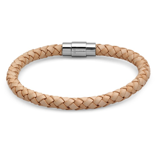 Men's Braided Genuine Leather Bracelet In Tan