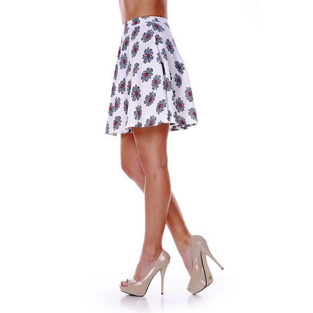 White & Grey Flower Print Skater Skirt