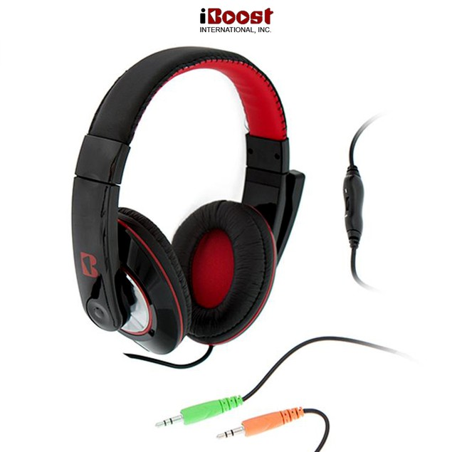 iBoost Pro Studio Noise-Isolating Stereo Gaming Headset with Boom Microphone & Volume Control