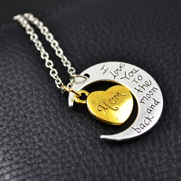 I Love You To The Moon And Back Mom Necklace