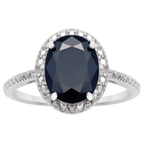 Sterling Silver 3.5ct Oval Sapphire and Halo Diamond Ring