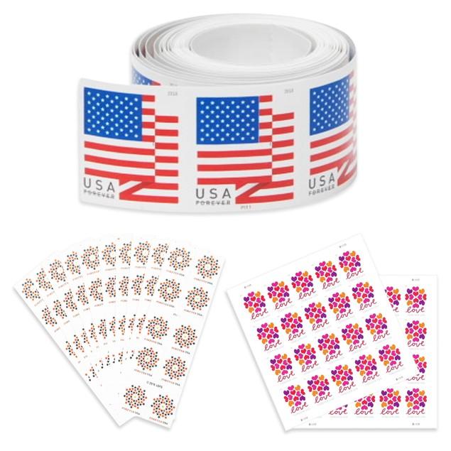 100-Pack USPS Forever Stamps - 2018 U.S. Flag, Hearts Blossom, or Patriotic Spiral