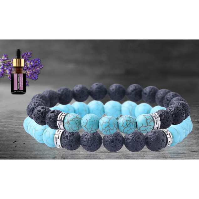 2-Pack 2.0 Lava Stone Chakra Diffuser Bracelet with Optional Essential Oil