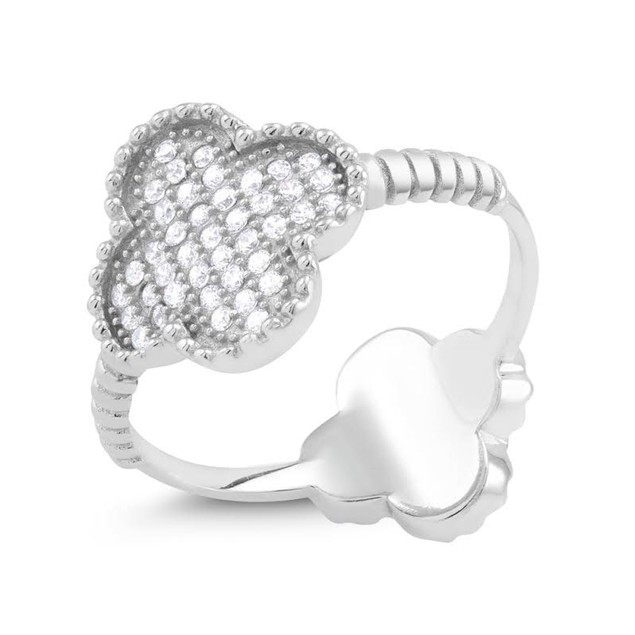 Sterling Silver Cubic Zirconia Clover Ring