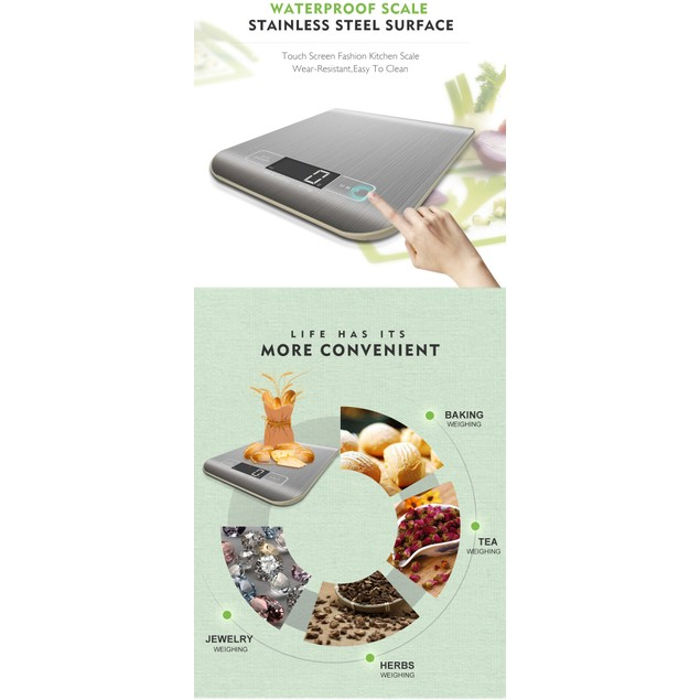 Digital Kitchen Food Scale for Cooking and Baking W/Batteries
