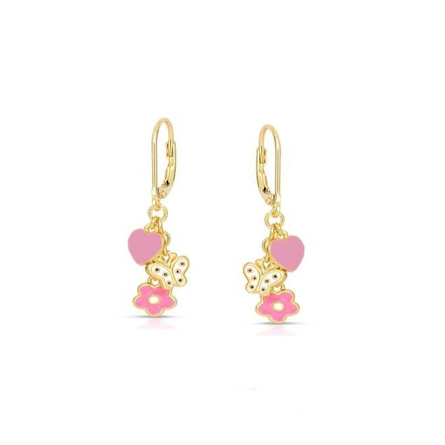 18KGP Dangling Flower,Heart & Bow Enameled C.Z Charms Children's Leverbacks Earrings