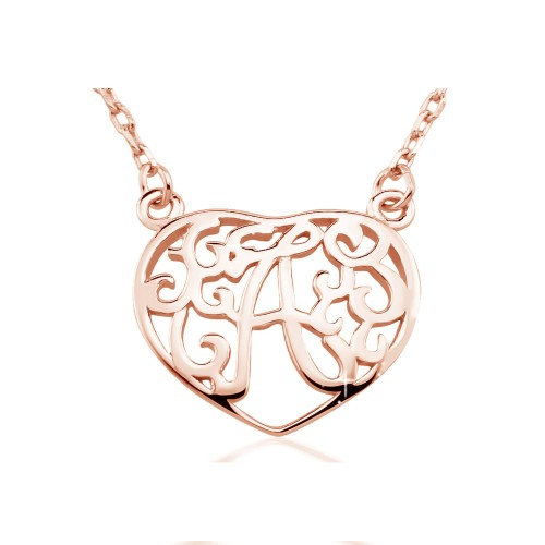 """0.925 Sterling Silver Rose-Gold Heart Shape Initial Pendant W/18"""" Cable Chain Necklace Set"""