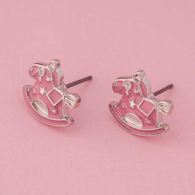 Pink Rocking Horse Stud Earrings