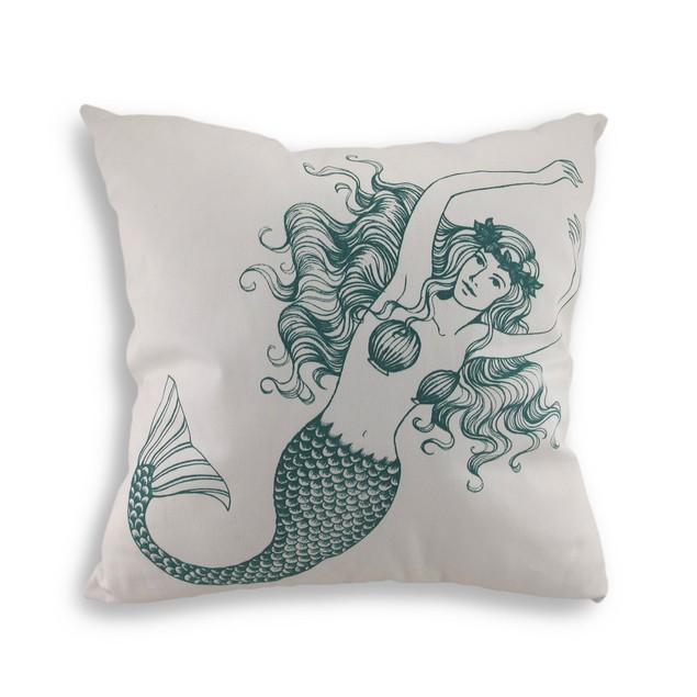 Blue And White Mermaid Cotton Canvas Decorative Throw Pillows