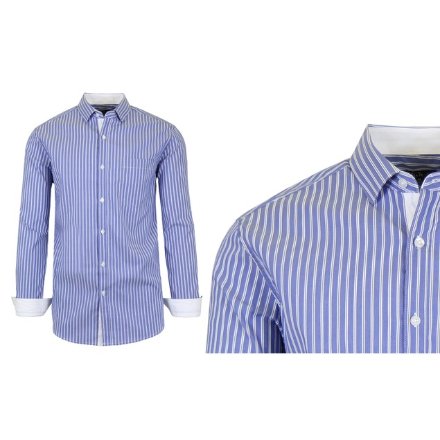 Men's Long Sleeve Slim-Fit Cotton-Stretch Pinstripe Dress Shirts (S-2XL)