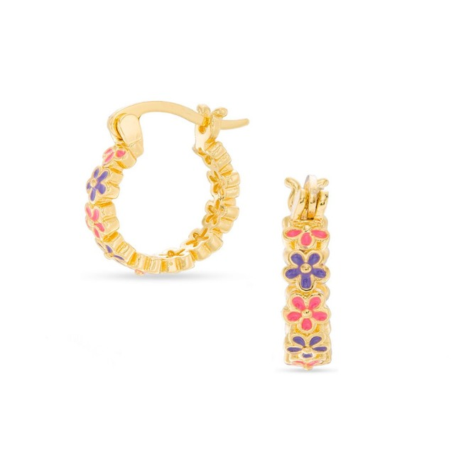 18k Gold-Plated Pink & Purple Small Flower Hoop Children's Earrings