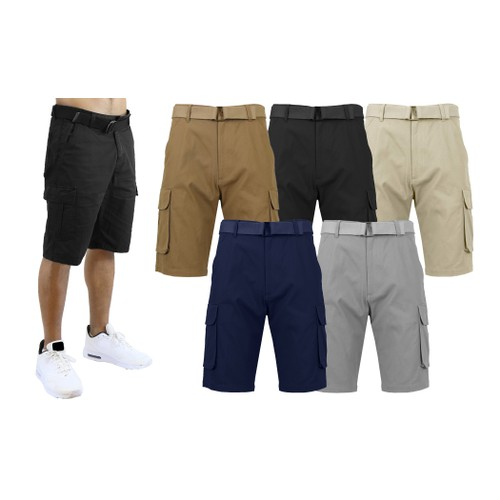 2-Pack Men's Cotton Flex Stretch Cargo Shorts With Belt (Sizes, 30-40)