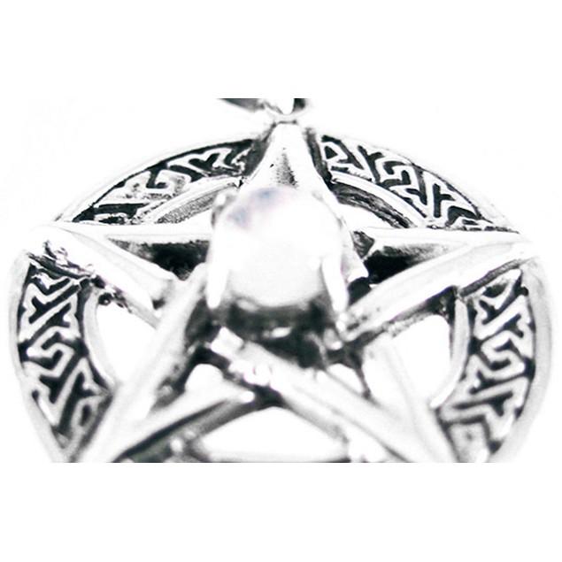 Sterling Silver Celtic Pentacle Pendant Clear Womens Pendants