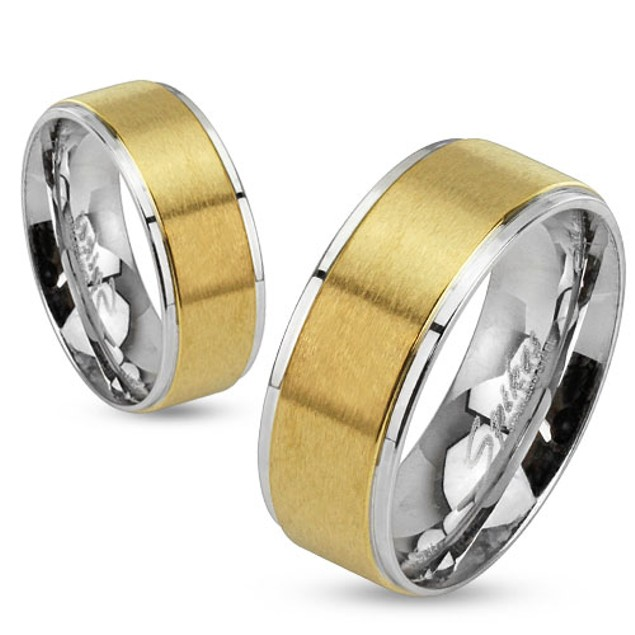 Step Edges Two Tone Brushed Gold IP Center Stainless Steel Band Ring