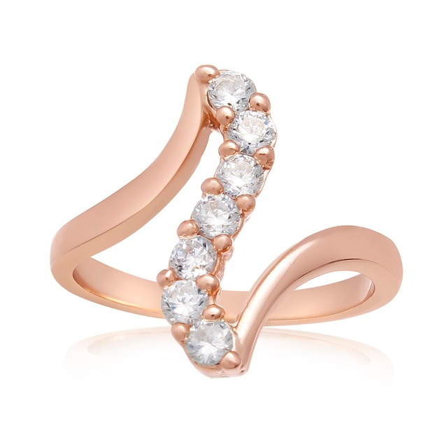 1/2 Carat Simulated Diamond Journey Ring In 18 Karat Rose Gold Overlay