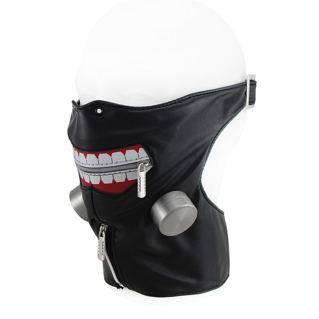Zippered Big Smile Adjustable Half Face And Neck Mens Costume Masks