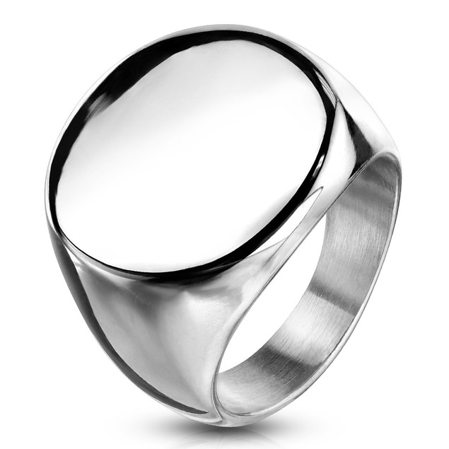 Round Signet Stainless Steel Ring
