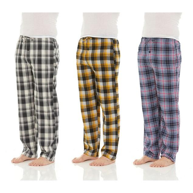 3-Pack  Men's Cotton Super-Soft Flannel Plaid Pajama Pants