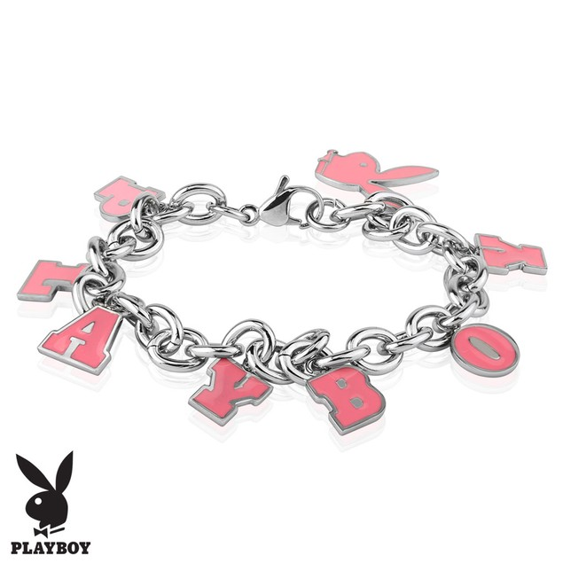 Pink Enamel Filled Playboy Charm Stainless Steel Bracelet