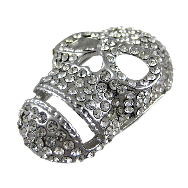 Black Leather Belt Style Bracelet W/ Crystal Skull Womens Leather Bracelets