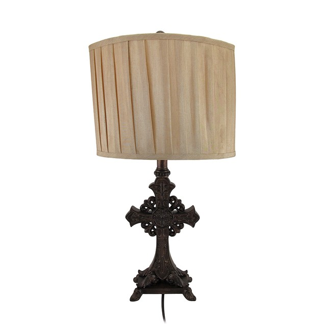 Set Of 2 Bronze Finish Ornate Cross Table Lamps W/ Table Lamps