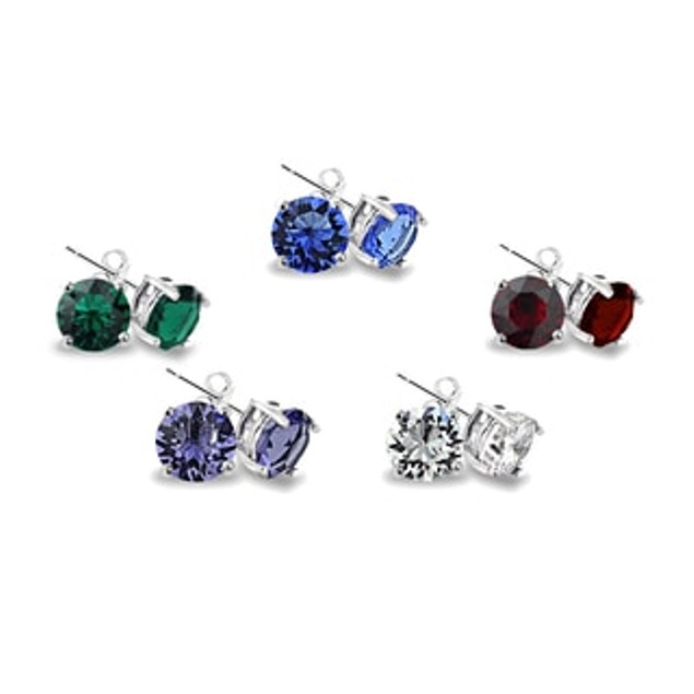 5-Pack Cubic Zirconia Round Stud Earrings 6mm Each
