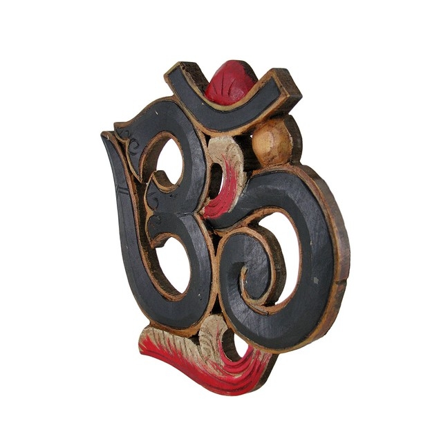 Wooden Om Symbol Hand Painted Wooden Wall Plaque 9 Decorative Plaques