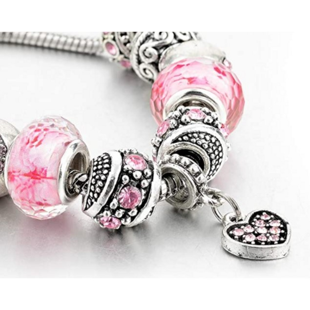 Pink Austrian Crystal And Heart Charm