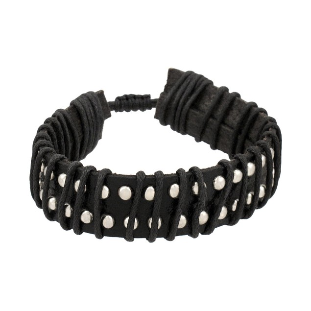 Black Leather Chrome Studded Adjustable Bracelet Mens Leather Bracelets