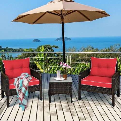 Costway 3 Piece Outdoor Rattan Conversation Set