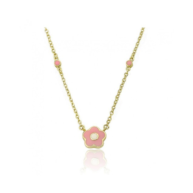 "18K Gold Plated Pink Enameled Flowers Children's Necklace- (14"" + 2"" Extention)"